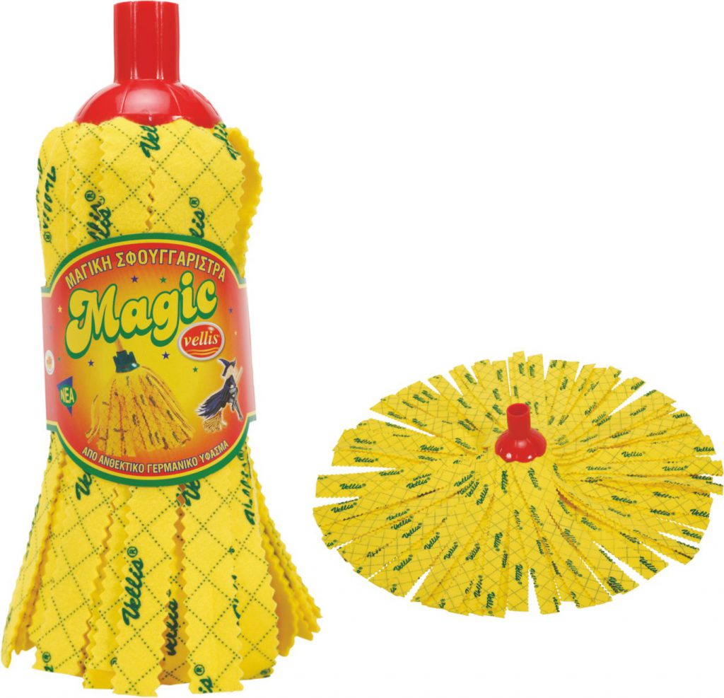 VELLIS σφουγγαρίστρα MAGIC κίτρινη τυπωμένη